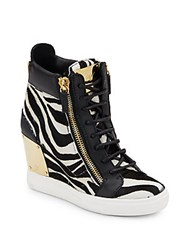 Giuseppe Zanotti Leather And Calf Hair Wedge Sneakers Black White