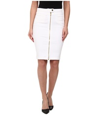 7 For All Mankind Front Zip Pencil Skirt Gold Zipper In Runway White Runway White Women's Skirt