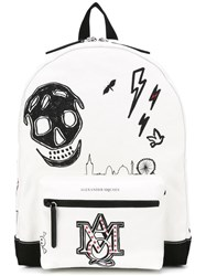 Alexander Mcqueen Printed Canvas Backpack White
