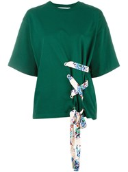 Msgm Lace Up Detail Top Green