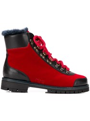Mr And Mrs Italy Fur Trimmed Hiking Boots Red