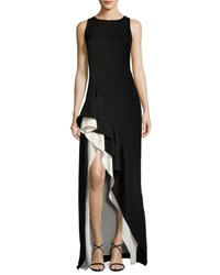 Halston Sleeveless Round Neck Colorblocked Flounce Skirt Evening Gown Black White