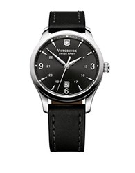 Victorinox Mens Alliance Leather Watch Black