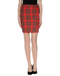 Denny Rose Knee Length Skirts Red