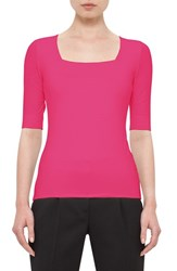 Akris Punto Women's Half Sleeve Square Neck Tee Pink