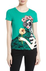 Alice Olivia Women's Stace Lace Flowers Embellished Applique Tee