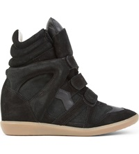Isabel Marant Bekett Suede And Leather Wedge Trainers Black