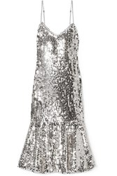 Veronica Beard Mykola Satin Trimmed Sequined Tulle Midi Dress Silver