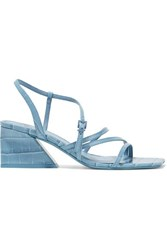 Mercedes Castillo Kelise Croc Effect Leather Sandals Light Blue