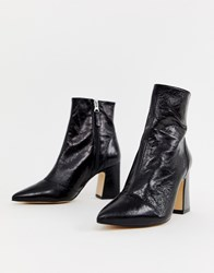 Office Alto Black Leather Mid Heeled Ankle Boots Black Leather