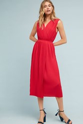 Tracy Reese Pleated Midi Dress Red