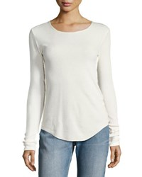 Vince Long Sleeve Pima Cotton Shirttail Tee Sheepskin