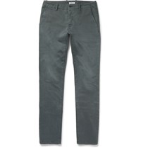 Tomas Maier Slim Fit Washed Stretch Cotton Chinos Gray