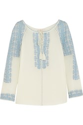 Tory Burch Embroidered Silk Georgette Blouse White