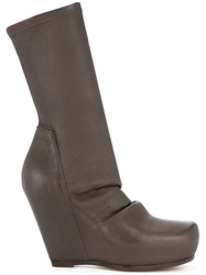 Rick Owens Wedge Boots Brown