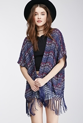Forever 21 Tasseled Tribal Print Cardigan Navy Red