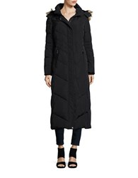 Jones New York Faux Fur Hooded Quilted Coat Black