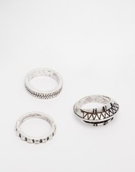 Asos Aztec Ring Pack With Plain Band In Silver