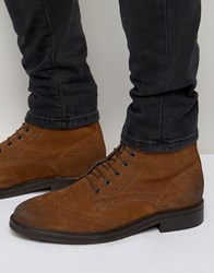 Asos Brogue Boots In Tan Suede With Heavy Sole Tan