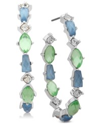 Lonna And Lilly Silver Tone Crystal Stone Open Hoop Earrings Blue Green