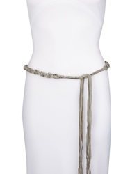 Donna Karan Braided Lambskin Suede Tie Belt With Fringe Oyster Gray