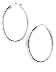 Lord And Taylor Sterling Silver Oval Hoop Earrings