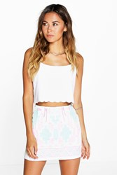Boohoo Aztec Print Mini Skirt White