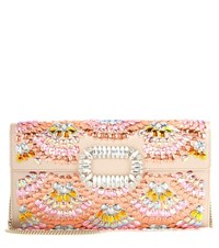 Roger Vivier Evening Envelope Embellished Satin Clutch Multicoloured