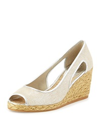 Charlot Open Toe Wedge Pump Silver Donald J Pliner