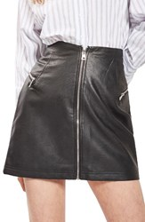 Topshop Women's Zip Faux Leather Miniskirt Black