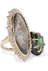 Alexis Bittar Gold Plated Crystal Enamel And Stone Ring 7
