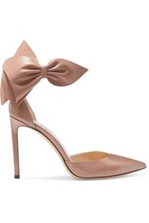 Jimmy Choo Kelley 100 Embellished Patent Leather Pumps Neutral