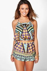 Boohoo Petite Jade Mixed Print Crop Top And Short Co Ord Multi