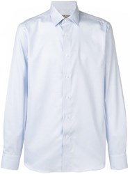 Canali Checked Pointed Collar Shirt Blue