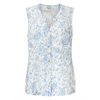 East Antoinette Print Sleeveless Shirt White