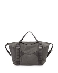 French Connection Harper Perforated Satchel Bag Mercury Mist