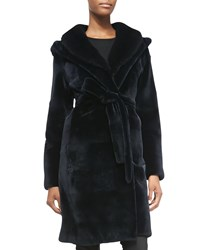 J. Mendel Mink Fur Hooded Tie Waist Coat Navy