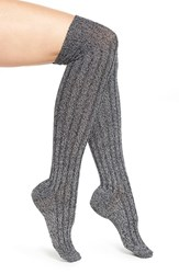 Women's Nordstrom Sparkle Knit Over The Knee Socks Black With Silver