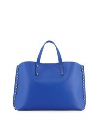 Neiman Marcus Studded Leather East West Tote Bag Cobalt