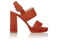 Barneys New York Women's Double Band Platform Sandals Red
