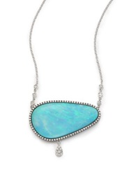 Meira T Boulder Opal Diamond And 14K White Gold Charm Pendant Necklace White Gold Turquoise