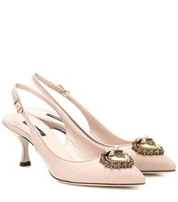 Dolce And Gabbana Nicole Slingback Leather Pumps Pink