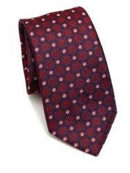 Saks Fifth Avenue Medallion Pattern Silk Tie Red Gold Turquoise