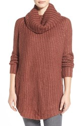 Junior Women's Dreamers By Debut Cowl Neck Sweater Brick