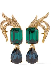 Oscar De La Renta Gold Plated Swarovski Crystal Clip Earrings One Size
