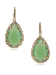 Abs By Allen Schwartz Castaway Teardrop Earrings Gold Green