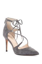 Marc Fisher Toni Lace Up Pointed Toe Pump Gray