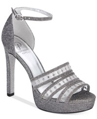 Adrianna Papell Morgan Ankle Strap Evening Sandals Women's Shoes Gunmetal