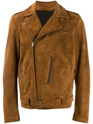Salvatore Santoro Zip Up Biker Jacket Brown