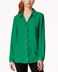 Ny Collection Scallop Trim Button Down Blouse